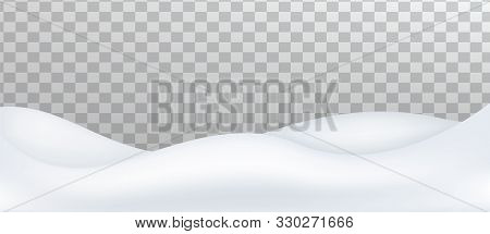 Snow Landscape Isolated On Transparent Background. Snow Drift, Mountain. Vector Illustration.