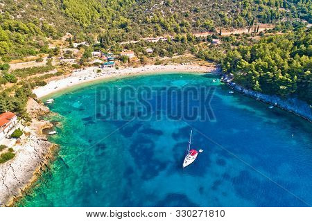Korcula. Aerial View Of Korcula Island Beach In Pupnatska Luka Cove, Southern Dalmatia Archipelago O