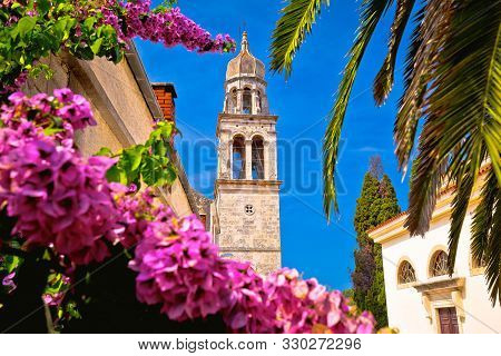 Vela Luka: Town Of Vela Luka On Korcula Island Church Tower And Flowers View, Archipelago Of Souther