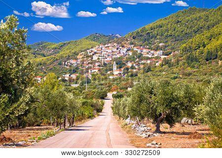 Korcula. Village Of Cara In Green Island Landscape View, Korcula Island In Dalmatia, Croatia.
