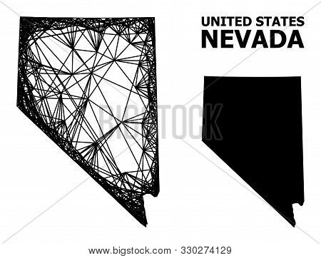 Net Vector Map Of Nevada State. Linear Frame 2d Network In Vector Format, Geographic Model For Polit