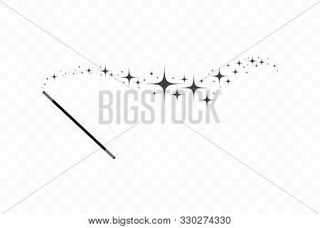 Magic Wand With A Stars. Trace Of Black Dust. Magic Abstract Background Isolated On On Transparent B