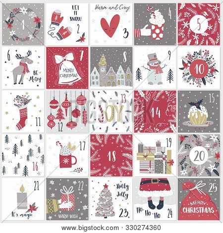 Christmas Advent  Calendar In Hand Draw Style. Count Down Till Christmas Kit. Twenty Five Christmas
