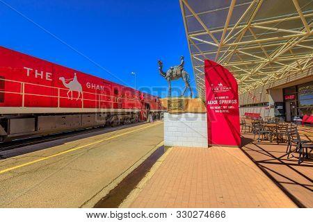 Alice Springs, Northern Territory, Australia - Aug 29, 2019: The Ghan Memorial: Statue Of Afghan Wor