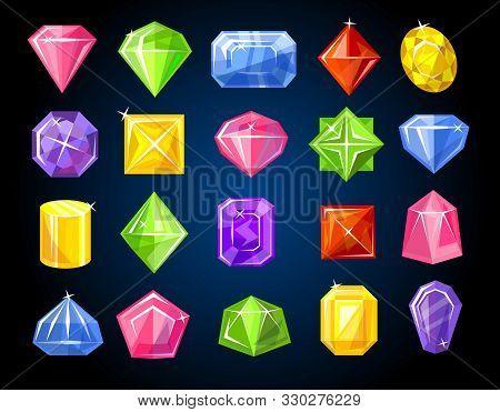 Diamond And Sapphire Gemstones Colorful Set On Dark Background Vector Illustration. Shiny Game Rock