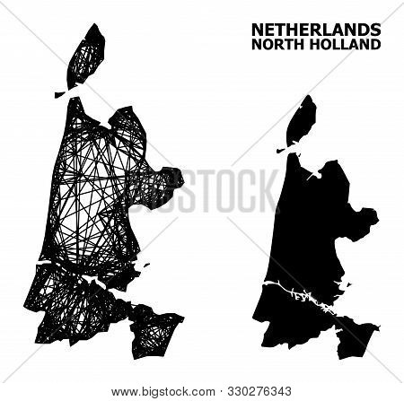 Net Vector Map Of North Holland. Linear Frame Flat Network In Vector Eps Format, Geographic Model Fo