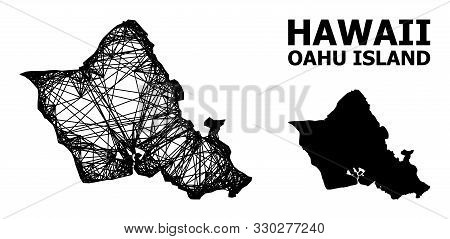 Web Vector Map Of Oahu Island. Wire Carcass 2d Mesh In Vector Format, Geographic Model For Patriotic