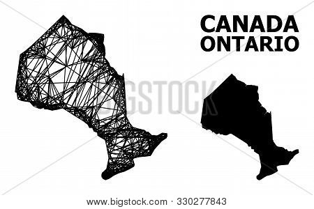 Net Vector Map Of Ontario Province. Linear Frame 2d Mesh In Eps Vector Format, Geographic Model For