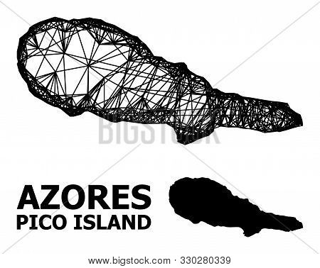 Net Vector Map Of Pico Island. Wire Carcass 2d Mesh In Vector Format, Geographic Template For Patrio