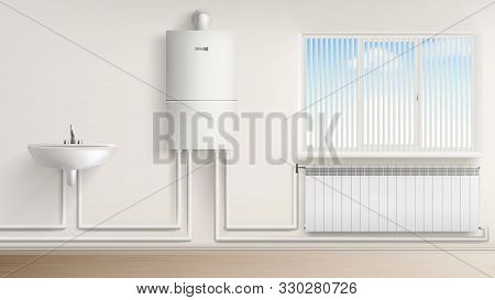 Bathroom With Boiler Water Heater Connected With Radiator And Washbasin, Bath Room Interior With Jal
