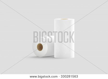 Blank White Two Paper Towel Mockup Stand And Lying On Gray Background, 3d Rendering. Empty Textured