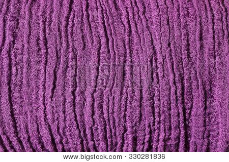 Violet Fabric Mesh. Close Up Rumpled Cloth Background.