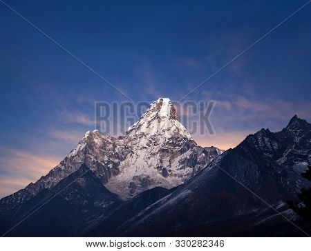 Ama Dablam Mount - View From Sagarmatha National Park, Everest Region, Nepal. It Is One Of The Most