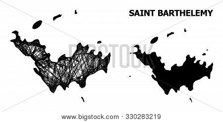Web Vector Map Of Saint Barthelemy. Linear Carcass 2d Network In Vector Eps Format, Geographic Templ