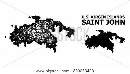 Web Vector Map Of Saint John Island. Wire Carcass 2d Mesh In Eps Vector Format, Geographic Template