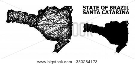 Net Vector Map Of Santa Catarina State. Linear Frame 2d Network In Vector Format, Geographic Model F