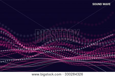 Abstract Dynamic Waves And Particles. Waves With Particles On Dark Background. Design Element For Po