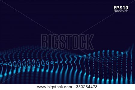 Waves With Particles On Dark Background. Dot Pattern Composed Of Mesh. Technological Sense Of Abstra