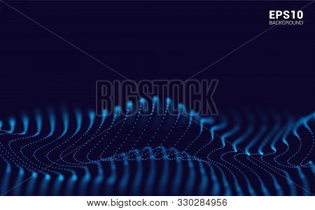 Waves With Particles On Dark Background. Flowing Particle. Futuristic Lines Of Many Dots. Design Ele