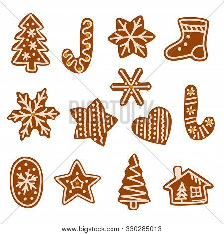 Set Of Cute Gingerbread Cookies For Christmas, New Year 2019. Isolated Christmas Gingerbread Cookie,
