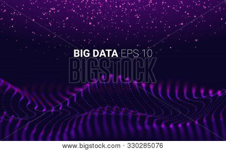 Futuristic Lines Of Many Dots. Waves With Particles On Dark Background. Design Element For Poster Co
