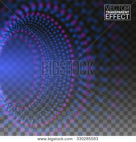 Abstract Digital Of Blue Glowing Liquid Energy Around The Circle. Transparent Background Vector Illu