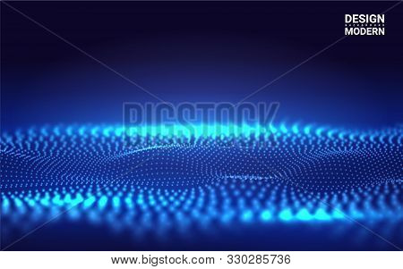 Beautiful 3d Wave Shaped Array Of Blended Points On Dark Background. Futuristic Lines Of Many Dots.