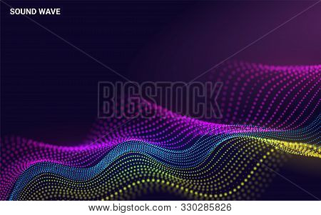 Beautiful 3d Wave Shaped Array Of Blended Points On Dark Background. Big Data. Futuristic Lines Of M