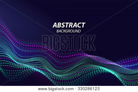 Beautiful Sound Waves 3d Shaped Array Of Blended Points On Dark Background. Big Data. Futuristic Lin