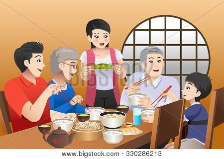 A Vector Illustration Of Chinese Family Eating Together At Home