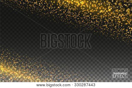 Magic Gold Glitter Wave Abstract Background. Gold Glittering Star Dust Trail Sparkling Particles On