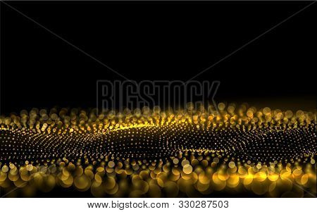 Sparkling Luminous Gold Stars Beautiful 3d Wave Shaped Array Of Blended Points Star Dust Sparks In E