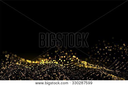 Sparkling Luminous Gold Stars. Star Dust Sparks In Explosion On Black Background. Beautiful 3d Wave