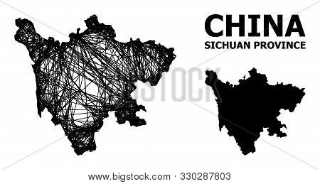 Net Vector Map Of Sichuan Province. Linear Frame Flat Network In Eps Vector Format, Geographic Model