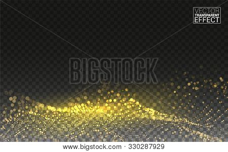 Gold Magic Glitter. Gold Glittering Star Dust Trail Sparkling Particles. 3d Wave Shaped Array Of Ble