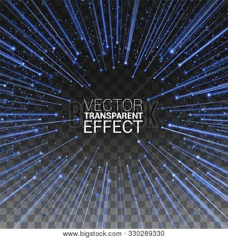 High Speed. Blue Light Stripes Fast Over Dark Background With Ray Sparkles. Abstract Explosion Backg