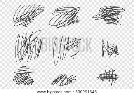 Random Undigested Scribbles Vector Illustrations Set. Messy Ink Pen, Black Pencil Strokes Pack. Vari