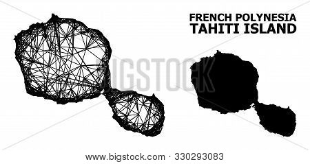 Web Vector Map Of Tahiti Island. Wire Frame Flat Network In Vector Eps Format, Geographic Template F