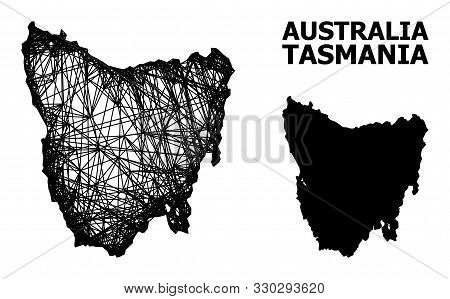 Web Vector Map Of Tasmania Island. Wire Frame 2d Mesh In Vector Eps Format, Geographic Template For