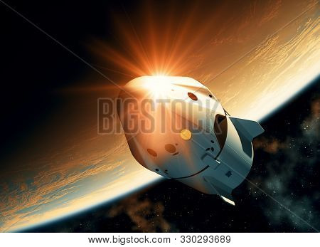 Sun Reflection On The Surface Of A Spacecraft Flying In Outer Space. 3d Illustration.