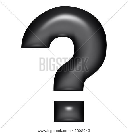 3D Black Balloon Question Mark
