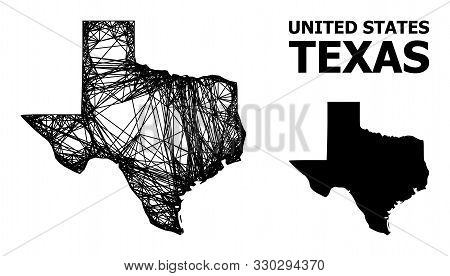 Web Vector Map Of Texas State. Wire Carcass Flat Mesh In Vector Format, Geographic Model For Economi
