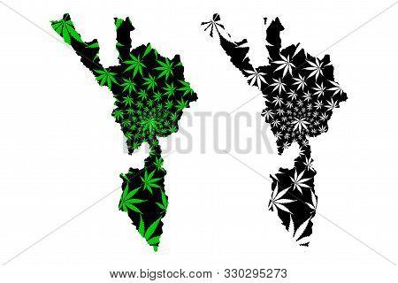 Tak Province (kingdom Of Thailand, Siam, Provinces Of Thailand) Map Is Designed Cannabis Leaf Green