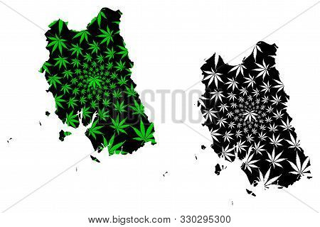 Trang Province (kingdom Of Thailand, Siam, Provinces Of Thailand) Map Is Designed Cannabis Leaf Gree