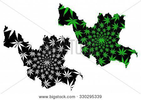 Udon Thani Province (kingdom Of Thailand, Siam, Provinces Of Thailand) Map Is Designed Cannabis Leaf