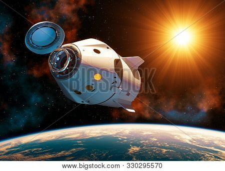 Commercial Spacecraft With Open Docking Hatch In The Rays Of Sun. 3d Illustration.