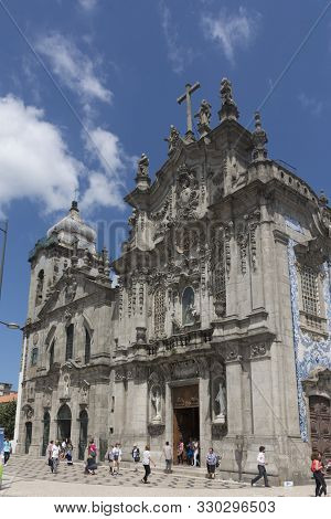 Porto, Portugal - July 20, 2017: Church Of Carmo, 18th Century, Rococo Style, And Carmelite Church,