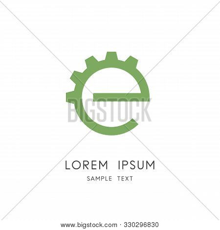 Green Energy Logo - Gear Wheel And Eco Symbol. Ecology And Environment Vector Icon.