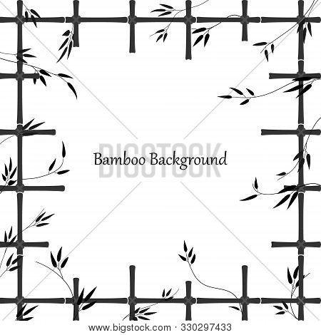 Bamboo Background In The Form Of A Window Made Of Bamboo Sticks. Black Pattern Of Trellis And Bamboo