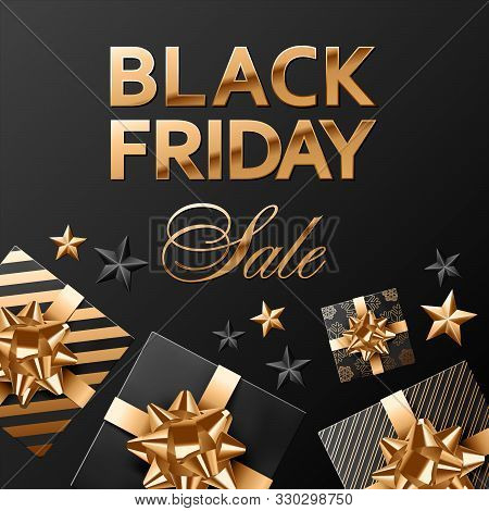 Black Friday Sale Square Vector Composition On Black Background For Banner Or Social Network Post. G
